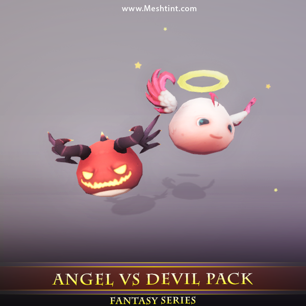 Angel VS Devil Pack Mesh Tint Shop3DSA Unity3D Game Low Poly Download 3D Model