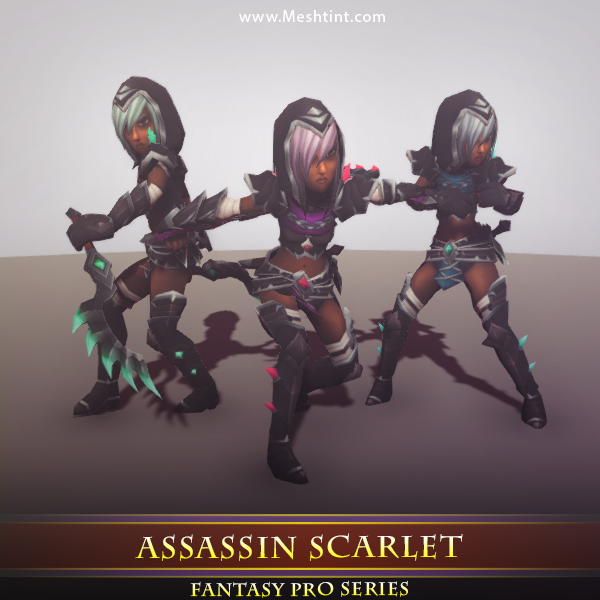Assassin Scarlet Mesh Tint Shop3DSA Unity3D Game Low Poly Download 3D Model
