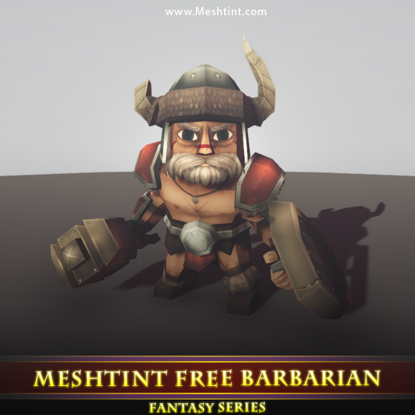 Barbarian Wyder Mesh Tint Shop3DSA Unity3D Game Low Poly Download 3D Model