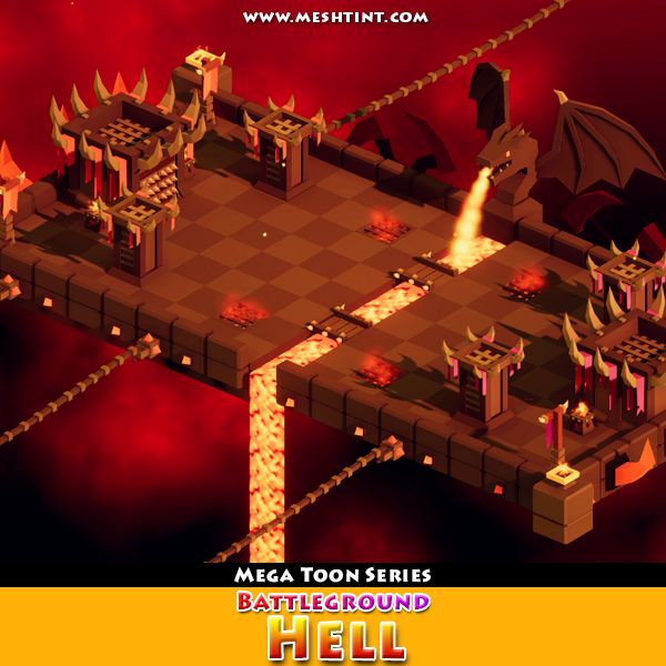 Battleground Hell 1.1 Mesh Tint Shop3DSA Unity3D Game Low Poly Download 3D Model
