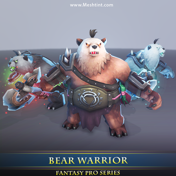 Bear Warrior Mesh Tint Shop3DSA Unity3D Game Low Poly Download 3D Model