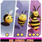 Bee Bumble Sting Evolution Pack Cute Series Mesh Tint Shop3DSA Unity3D Game Low Poly Download 3D Model