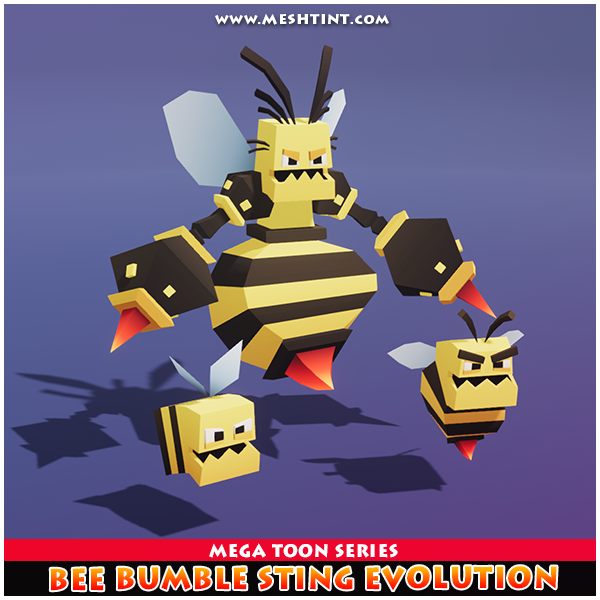 Bee Bumble Sting Meshtint 3d model unity low poly game fantasy creature monster evolution evolve