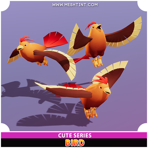Bird Cute Series Mesh Tint Shop3DSA Unity3D Game Low Poly Download 3D Model