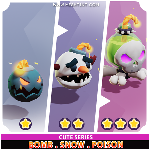 Bomb Snow Poison Evolution Cute Meshtint 3d model unity low poly game fantasy creature monster