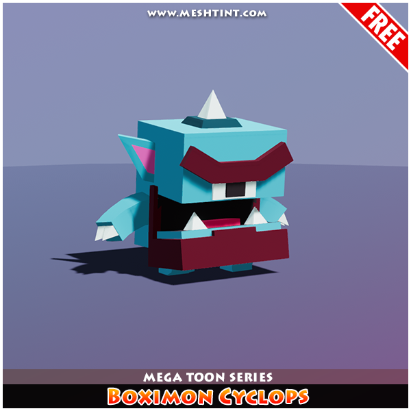 Meshtint Free Boximon Cyclops Mega Toon Series Mesh Tint Shop3DSA Unity3D Game Low Poly Download 3D Model