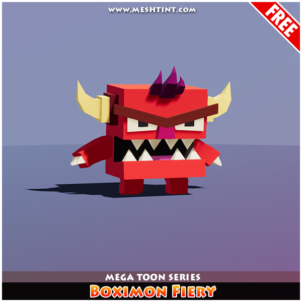 Meshtint Free Boximon Fiery Mega Toon Series 1.1 Mesh Tint Shop3DSA Unity3D Game Low Poly Download 3D Model