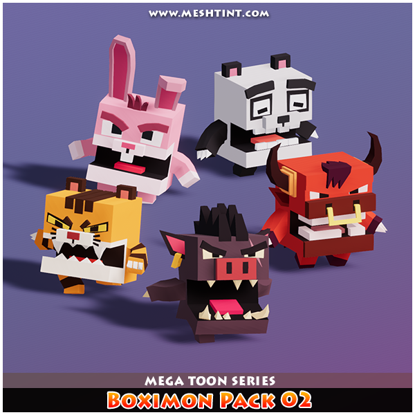 Boximon Pack 02 Mega Toon Series 1.1 Mesh Tint Shop3DSA Unity3D Game Low Poly Download 3D Model