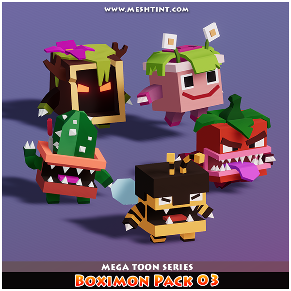 Boximon Pack 03 Mega Toon Series Mesh Tint Shop3DSA Unity3D Game Low Poly Download 3D Model