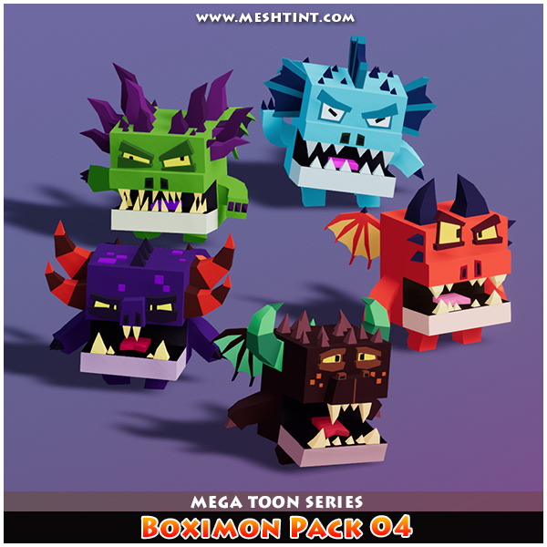 Boximon Pack 04 Mega Toon Series Mesh Tint Shop3DSA Unity3D Game Low Poly Download 3D Model