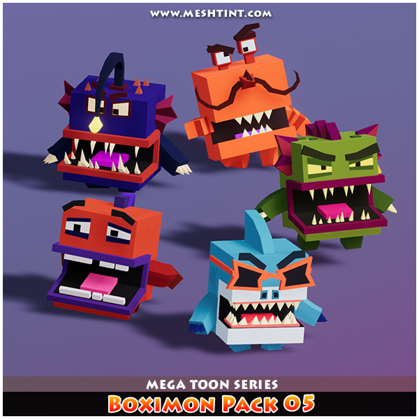Boximon Meshtint 3d model character unity asset store low poly game fantasy sea underwater pond