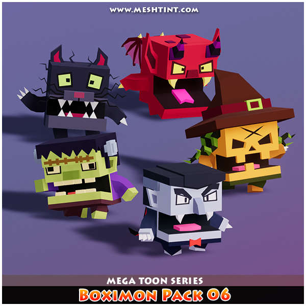 Meshtint 3d model unity asset low poly Boximon Halloween Pumpkin Vampire Frankenstein Devil Cat