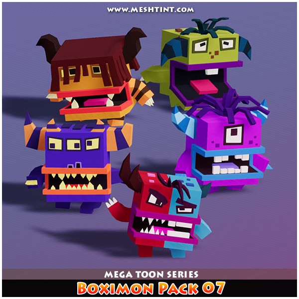 Boximon Pack 07 Mega Toon Series Mesh Tint Shop3DSA Unity3D Game Low Poly Download 3D Model