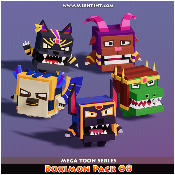 Boximon Meshtint 3D models game Low Poly monster animal Egyptian god cute Unity owl crocodile dog