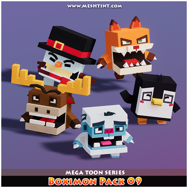 Boximon Meshtint 3D models game Low Poly boxy creatures Unity fox snowman bigfoot penguin moose cute