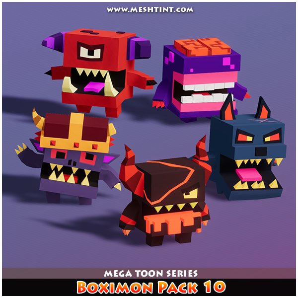 Boximon Pack 10 Mega Toon Series Mesh Tint Shop3DSA Unity3D Game Low Poly Download 3D Model