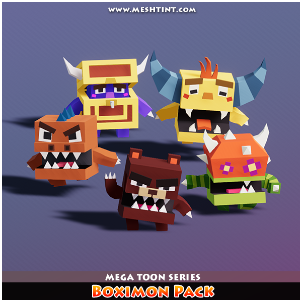 Boximon Pack Mega Toon Series 1.1 Mesh Tint Shop3DSA Unity3D Game Low Poly Download 3D Model