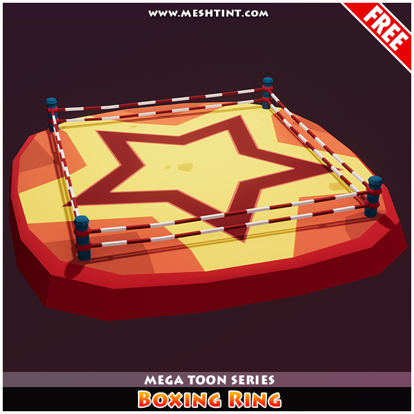 Meshtint Free Boxing Ring Mega Toon Series Mesh Tint Shop3DSA Unity3D Game Low Poly Download 3D Model