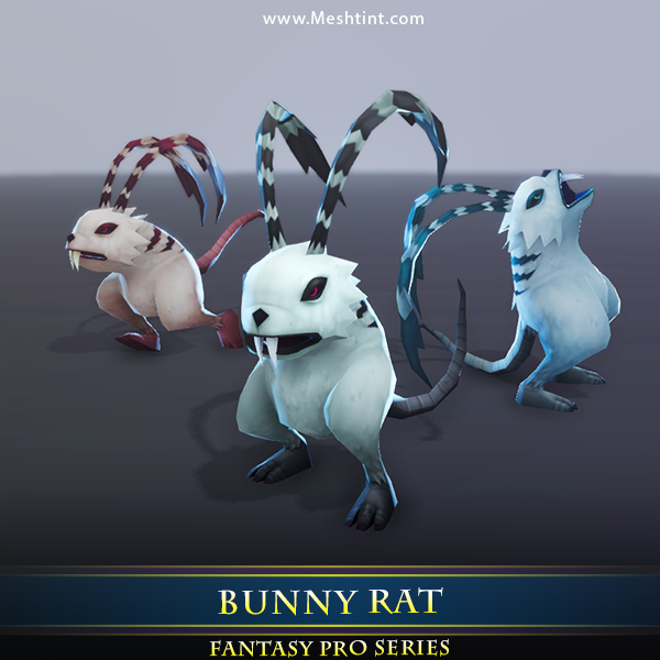 Bunny Rat Monster - Mesh Tint - Shop3DSA - Unity - 3D - Game - Low - Poly - Model - Animation