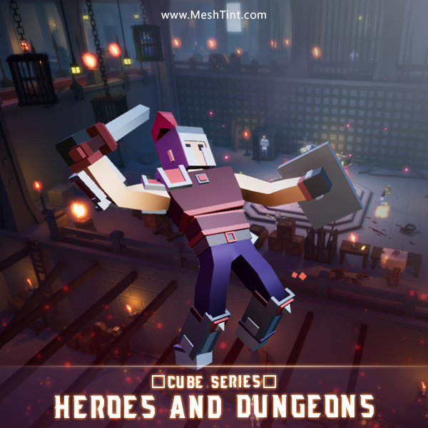 CUBE - Heroes and Dungeons Pack Mesh Tint Shop3DSA Unity3D Game Low Poly Download 3D Model