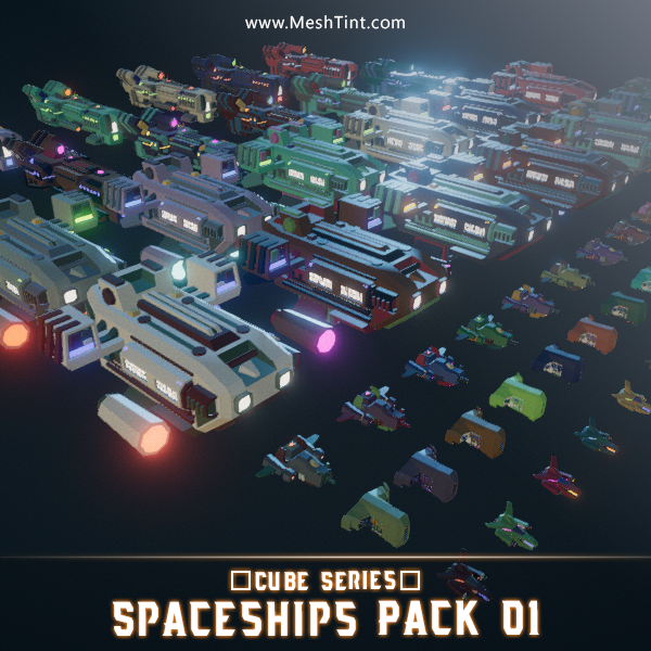 CUBE - Spaceships Pack 01 Mesh Tint Shop3DSA Unity3D Game Low Poly Download 3D Model