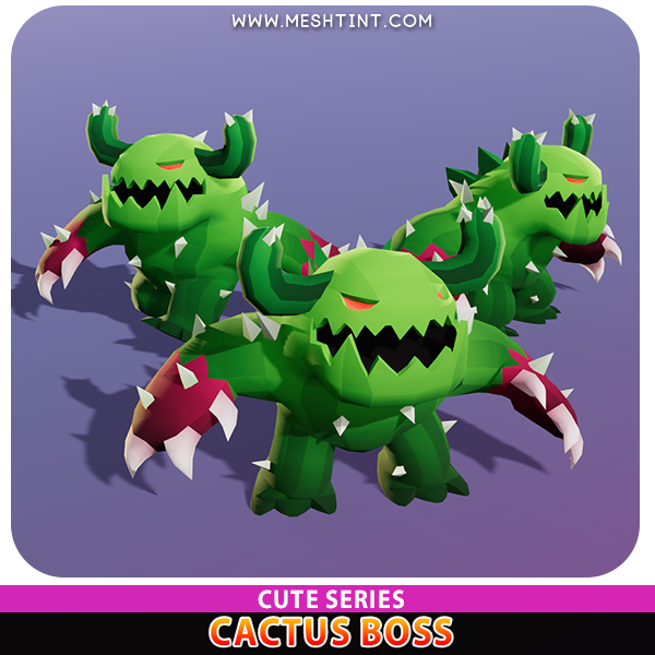 Cactus Boss CuteMeshtint 3d model unity low poly game fantasy creature monster evolution evolve