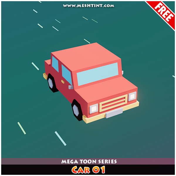 Meshtint Free Car 01 Mega Toon Series Mesh Tint Shop3DSA Unity3D Game Low Poly Download 3D Model