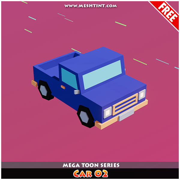 Meshtint Free Car 02 Mega Toon Series Mesh Tint Shop3DSA Unity3D Game Low Poly Download 3D Model