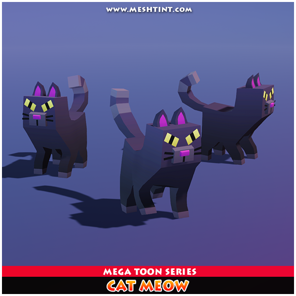 Cat Meow Mega Toon Meshtint 3d model unity low poly game fantasy creature monster evolution evolve