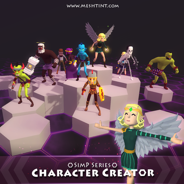 Character Creator SimP Series 1.5.1 Mesh Tint Shop3DSA Unity3D Game Low Poly Download 3D Model