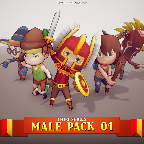 Chibi - Male Pack 01 Mesh Tint Shop3DSA Unity3D Game Low Poly Download 3D Model