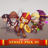 Chibi - Female Pack 01 Mesh Tint Shop3DSA Unity3D Game Low Poly Download 3D Model