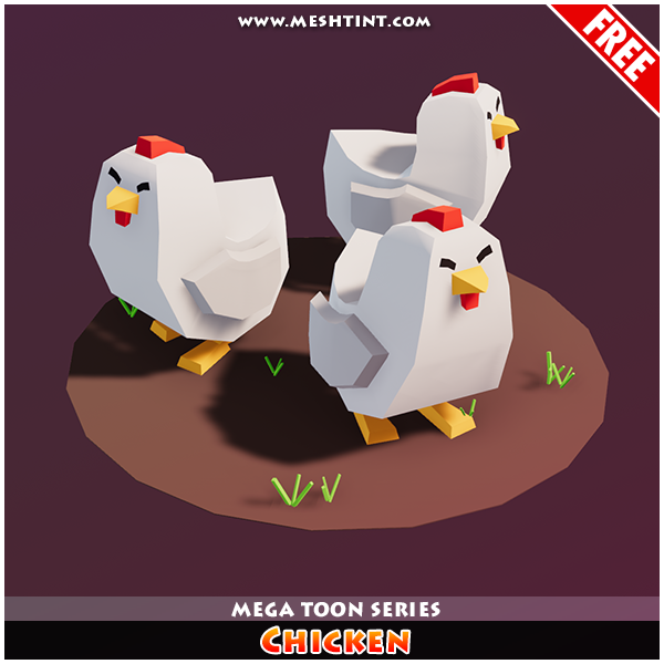 Meshtint Free Chicken Mega Toon Series Mesh Tint Shop3DSA Unity3D Game Low Poly Download 3D Model