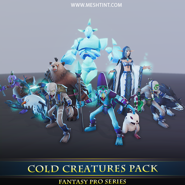 Cold Creatures Pack - Mesh Tint - Shop3DSA - Unity - 3D - Game - Low - Poly - Model - Animation