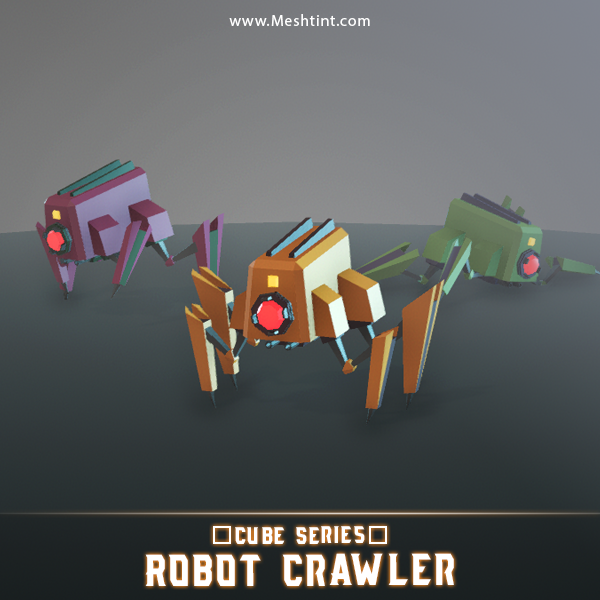 CUBE - Robot Crawler Mesh Tint Shop3DSA Unity3D Game Low Poly Download 3D Model