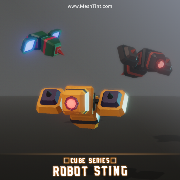 CUBE - Robot Sting Mesh Tint Shop3DSA Unity3D Game Low Poly Download 3D Model