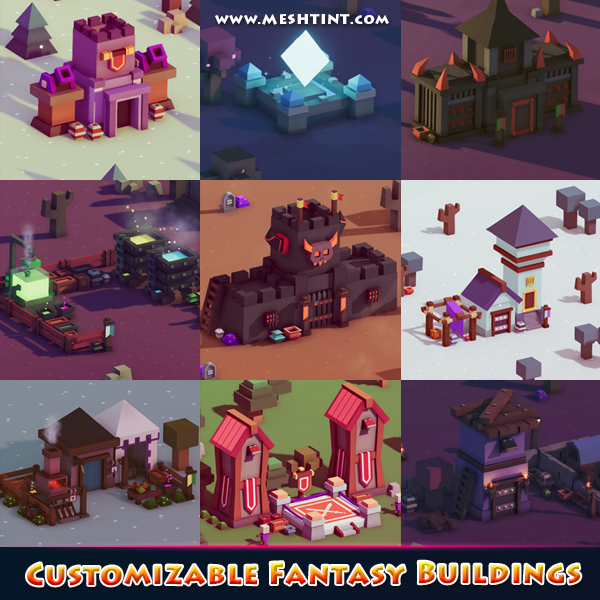 Mega Toon Customizable Fantasy Buildings 1.5 Mesh Tint Shop3DSA Unity3D Game Low Poly Download 3D Model