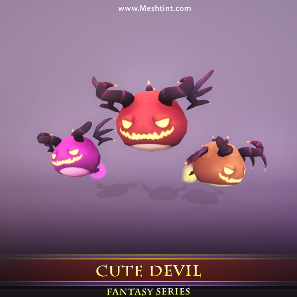 Cute Devil 1.2 Mesh Tint Shop3DSA Unity3D Game Low Poly Download 3D Model