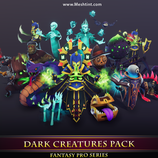 Dark Creatures Pack Mesh Tint Shop3DSA Unity3D Game Low Poly Download 3D Model