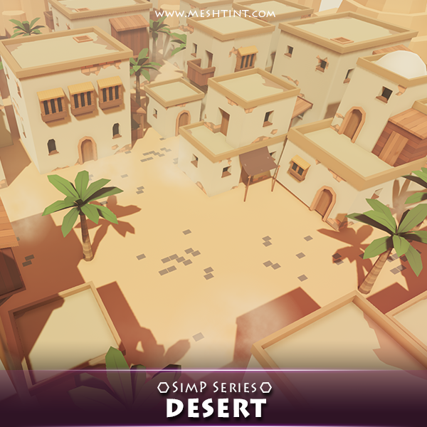 Desert Pack SimP Series Mesh Tint Shop3DSA Unity3D Game Low Poly Download 3D Model