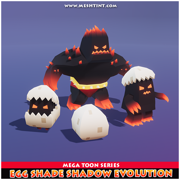 Egg Shade Shadow EvolutionMeshtint 3d model unity low poly game fantasy creature monster evolve