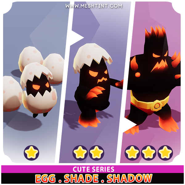 Egg Shade Shadow Evolution Pack Cute series Mesh Tint Shop3DSA Unity3D Game Low Poly Download 3D Model