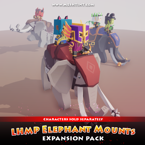 LHMP Expansion - Elephant Mounts Mesh Tint Shop3DSA Unity3D Game Low Poly Download 3D Model