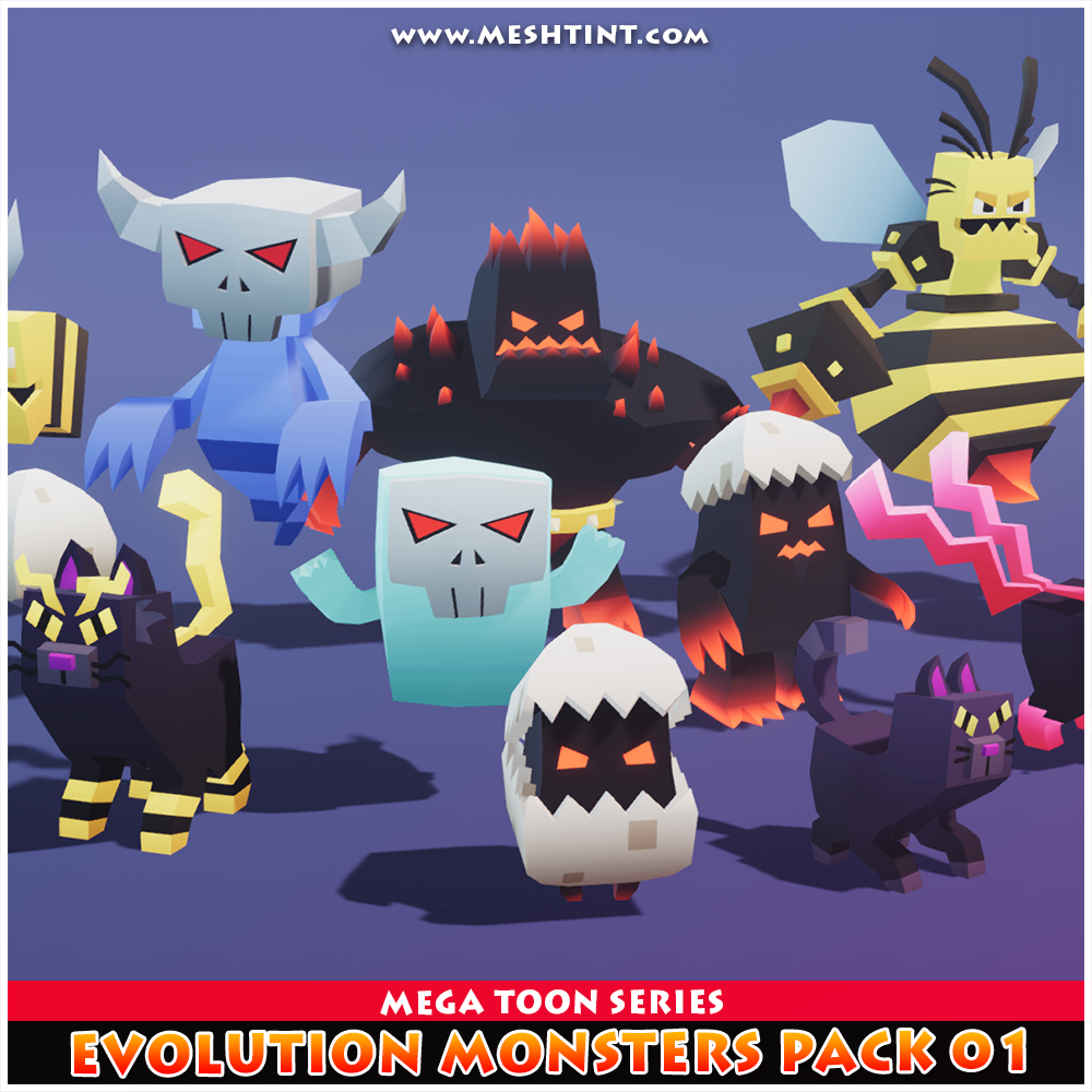 Evolution Monsters Pack 01 Mega Toon Series