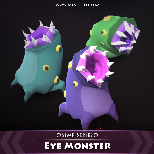 Eye Monster SimP Series Mesh Tint Shop3DSA Unity3D Game Low Poly Download 3D Model