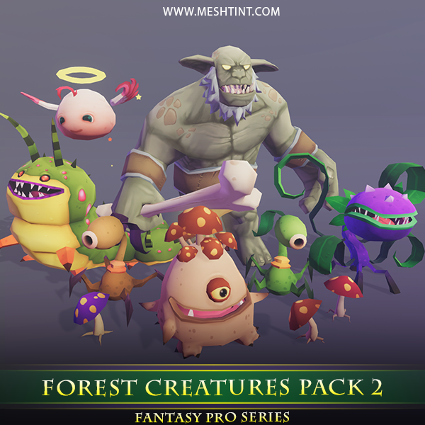 Forest Creatures Pack 02 Mesh Tint Shop3DSA Unity3D Game Low Poly Download 3D Model