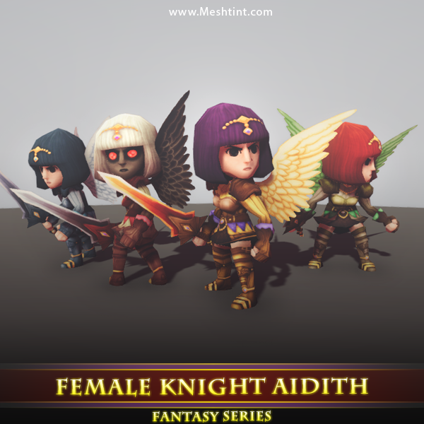 Female Knight Aidith Mesh Tint Shop3DSA Unity3D Game Low Poly Download 3D Model
