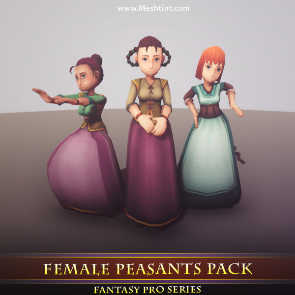 Female Peasants Pack - Mesh Tint - Shop3DSA - Unity - 3D - Game - Low - Poly - Model - Animation