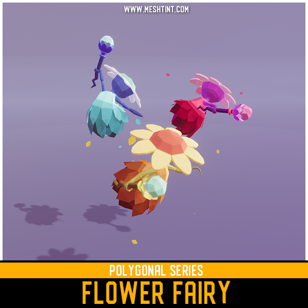 Polygonal Flower Fairy Mesh Tint Shop3DSA Unity3D Game Low Poly Download 3D Model