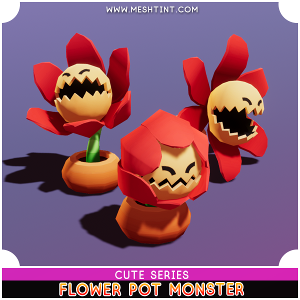 Flower Pot Monster Cute Series Mesh Tint Shop3DSA Unity3D Game Low Poly Download 3D Model